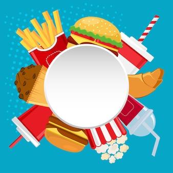 Marco con comida rápida y bebida.