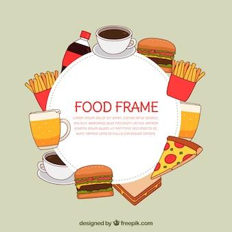 Marco de comida rápida dibujado a mano