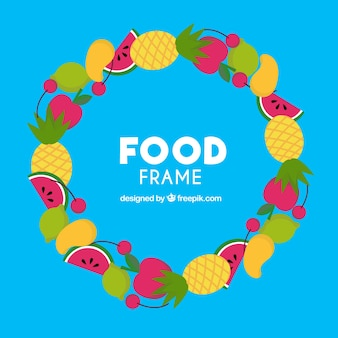 Marco de comida sana con diseño plano