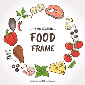 Marco de comida con vegetales y carne