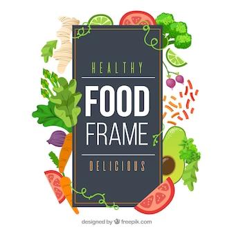 Marco de comida con vegetales