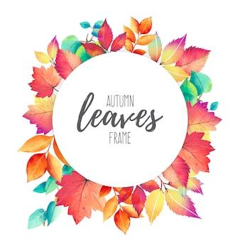 Marco con coloridas hojas de otoño