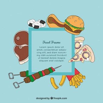 Marco con comida rápida