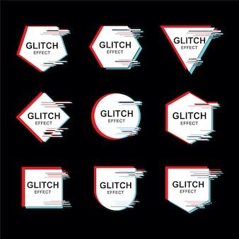 Marco con el conjunto de vectores de efecto glitch abstracto