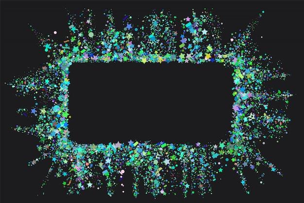 Marco de confeti sobre fondo negro.