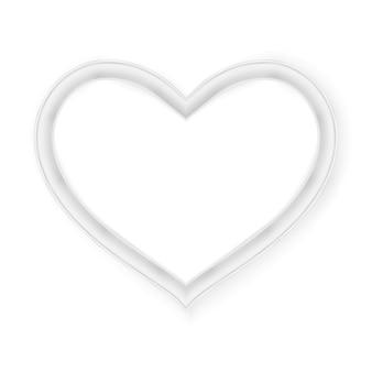 Marco de corazón aislado en blanco.