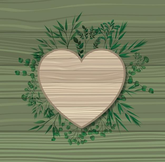 Marco de corazón con fondo de madera de hojas de laurel