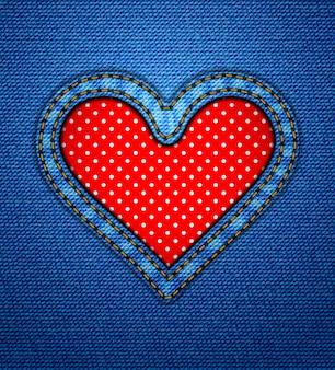Marco de corazón de jeans con lunares