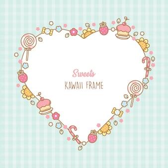 Marco de corazón kawaii