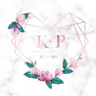 Marco de corazón de oro rosa con flor sobre fondo de mármol para logotipo de monograma de boda y tarjeta de invitación
