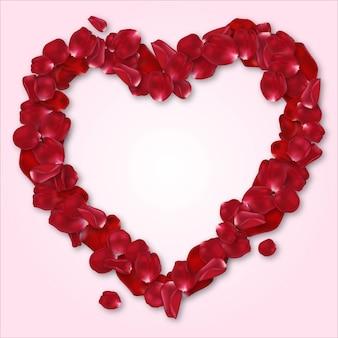 Marco de corazón de pétalos de rosa roja para sus seres queridos, tarjeta de boda, deseos de san valentín, regalo de aniversario