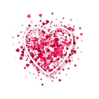 Marco de corazón sobre fondo de confeti de corazones