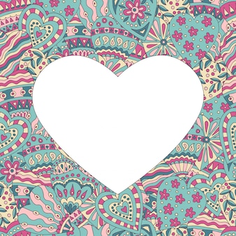 Marco de corazón sobre fondo pintado abstracto