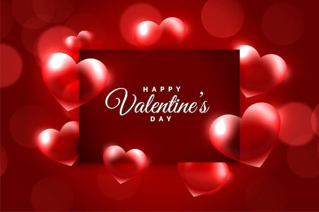 Marco de corazones brillantes para feliz tarjeta de felicitación del día de san valentín
