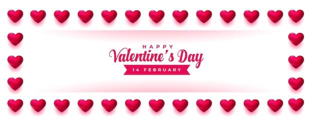 Marco de corazones de celebración del día de san valentín