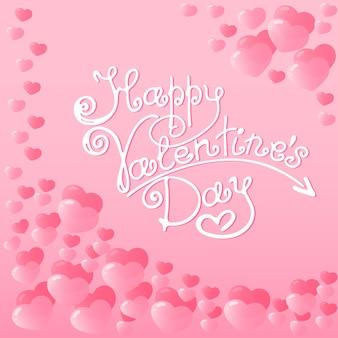 Marco de corazones de color rosa con letras a mano de feliz día de san valentín. tarjeta navideña, etiqueta de envío, embalaje. invitación para fiesta.