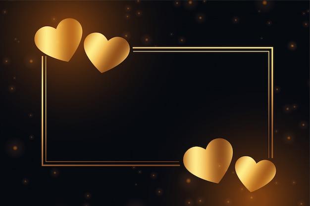 Marco de corazones dorados brillantes con espacio de texto