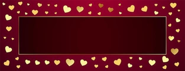 Marco de corazones dorados premium con espacio de texto