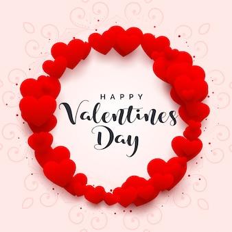 Marco de corazones para feliz dia de san valentin