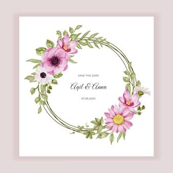 Marco de corona de flores con flores rosas y acuarela de hojas verdes