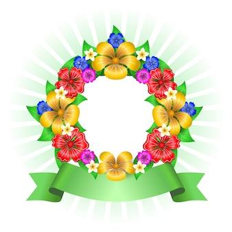 Marco de corona de flores tropicales