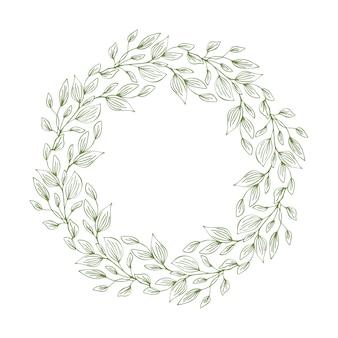 Marco de corona con hojas y ramas