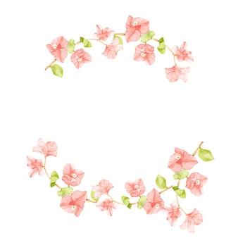 Marco de corona de medio círculo de buganvilla rosa acuarela