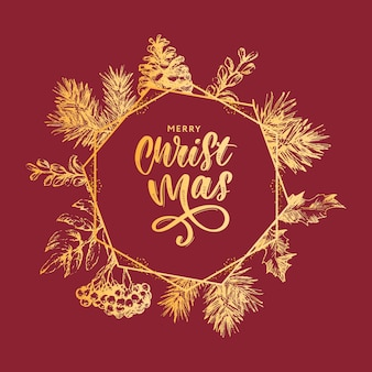 Marco de corona de navidad con ramas de árbol de navidad y acebo para decoración festiva, anuncios, postales, invitaciones, carteles.