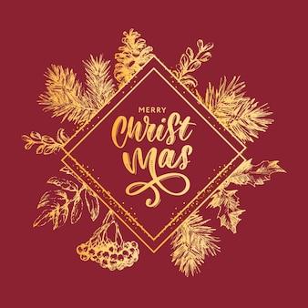 Marco de corona de navidad con ramas de árbol de navidad y acebo