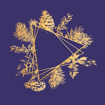 Marco de corona de navidad con ramas de árbol de navidad