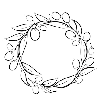 Marco de corona de olivo de ramo blanco y negro.