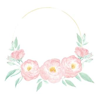 Marco de corona de rosa rosa salvaje acuarela con marco dorado redondo