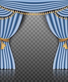 Marco de cortina azul con adornos dorados sobre transparente.