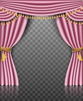 Marco de cortina rosa con decoraciones doradas sobre transparente