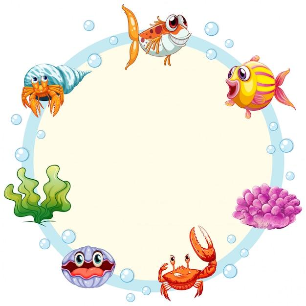 Marco de criatura marina con copyspace