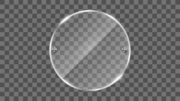 Marco de cristal redondo, bandera de cristal reflectante.