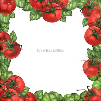 Marco cuadrado de albahaca y tomates