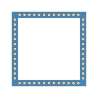 Marco cuadrado azul colorido con bombillas. ilustración de vector. eps10