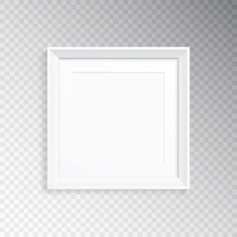 Un marco cuadrado blanco realista para fotografía o pintura.