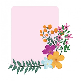 Marco cuadrado de flores decorativas