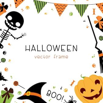 Marco cuadrado de decoraciones de fiesta de halloween con guirnaldas, banderas, regalos, sombrero, escoba, esqueleto y dulces sobre fondo blanco.