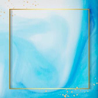 Marco cuadrado dorado en acuarela azul abstracta