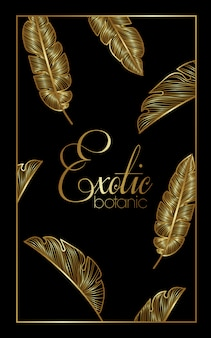 Marco cuadrado dorado de botánica exótica de lujo