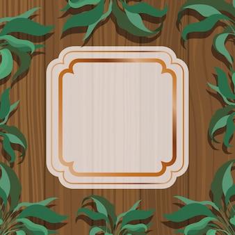 Marco cuadrado dorado con fondo de hierbas y madera.