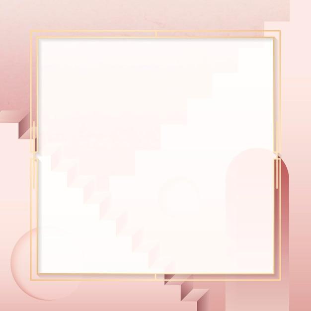 Marco cuadrado dorado sobre fondo rosa