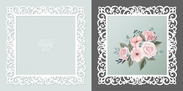 Marco cuadrado de encaje cortado con láser, plantilla. marco de fotos recorte ornamental
