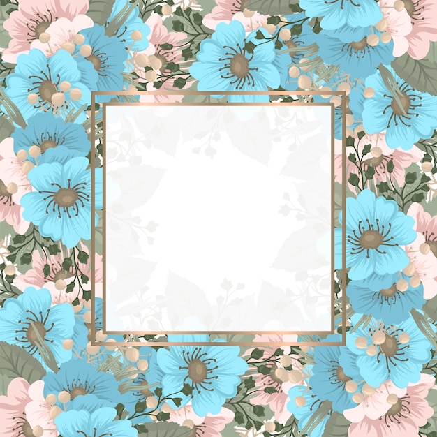Marco cuadrado de flores de primavera