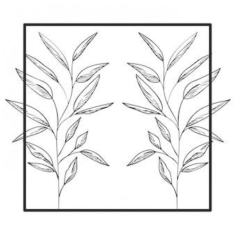 Marco cuadrado con hojas de primavera.
