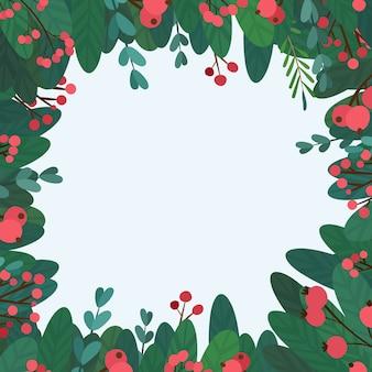Marco cuadrado de navidad. decoración botánica tradicional de los eventos de la temporada de invierno. deseos de vacaciones