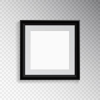 Un marco cuadrado negro realista para fotografía o pintura.